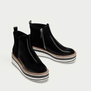 ZARA - Platform leather sneaker boots, 11